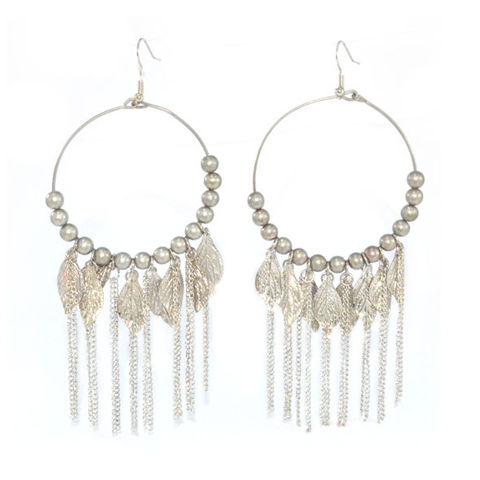 VINTAGE,STYLE,SILVER,TONE,LEAVES,AND,BEADS,WITH,TASSELS,DROP,EARRINGS