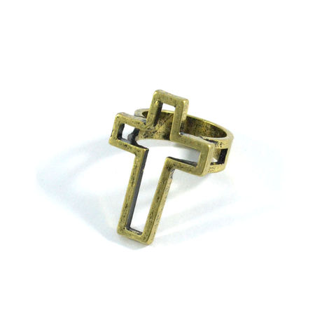 VINTAGE,STYLE,HOLLOW,CROSS,RING,gold cross ring, gold rings, cross gold ring, rings and things