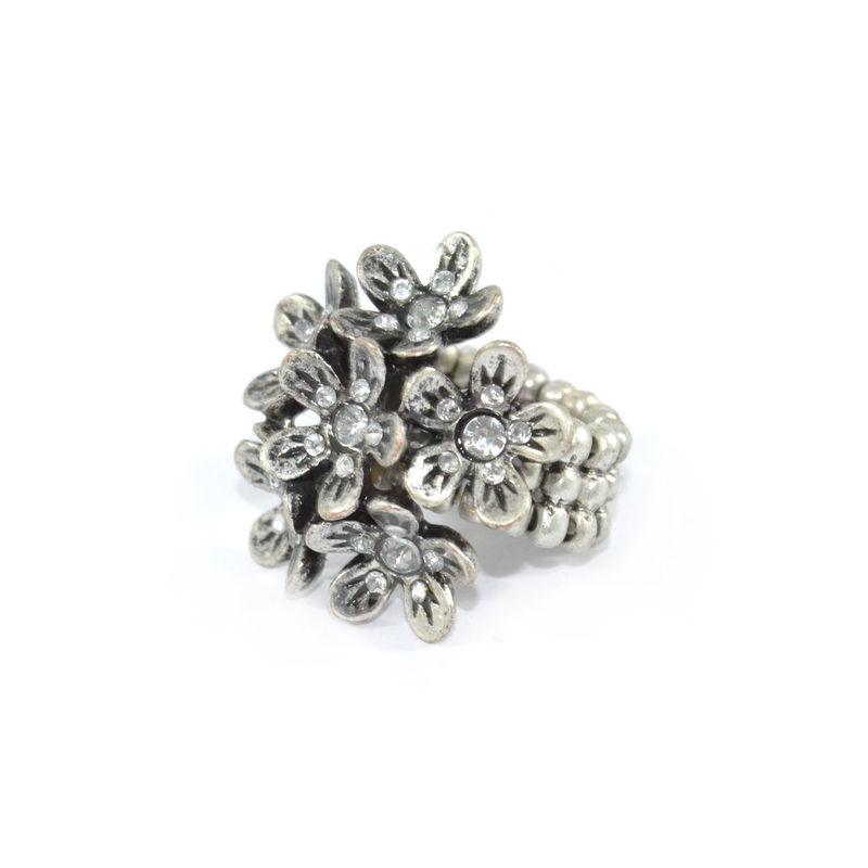 VINTAGE STYLE FLOWERS WITH CRYSTAL RING - product images  of