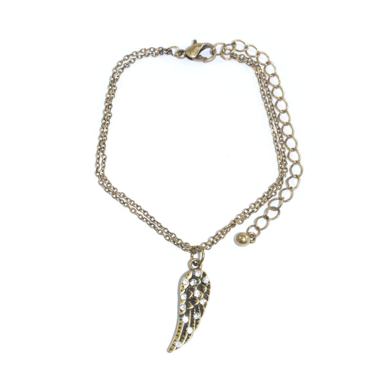 VINTAGE STYLE DOUBLE CHAIN WITH CRYSTAL WING PENDANT BRACELET - product image