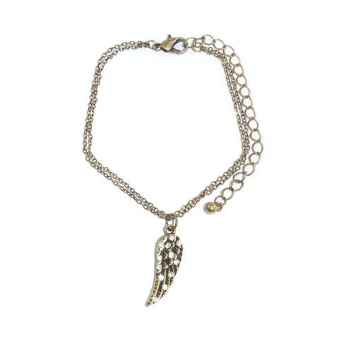 VINTAGE,STYLE,DOUBLE,CHAIN,WITH,CRYSTAL,WING,PENDANT,BRACELET