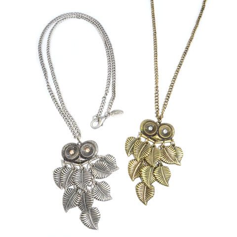 VINTAGE,STYLE,CRYSTAL,EYES,OWL,LONG,CHAIN,NECKLACE