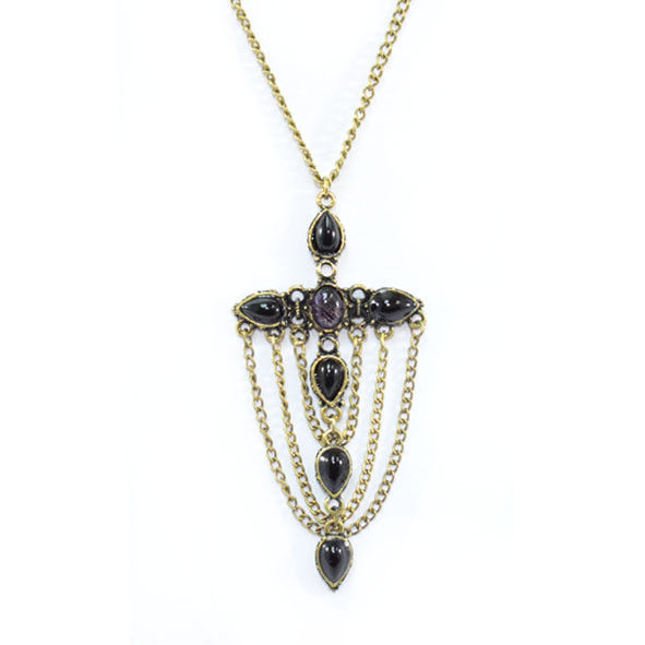 VINTAGE STYLE CROSS WITH CHAINS NECKLACE - product image