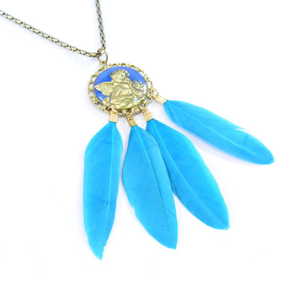 VINTAGE STYLE ANGEL MEDAL WITH BLUE GREEN FEATHER NECKLACE - product image