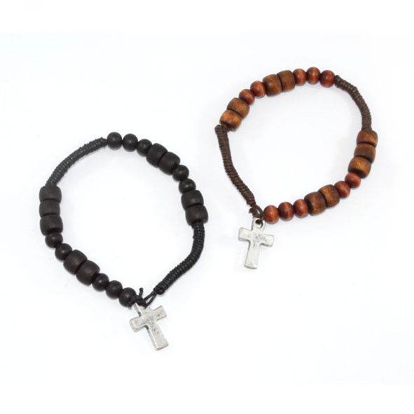 VINTAGE SILVER CROSS WITH WOODEN BEADS STRAP BRACELET - product image