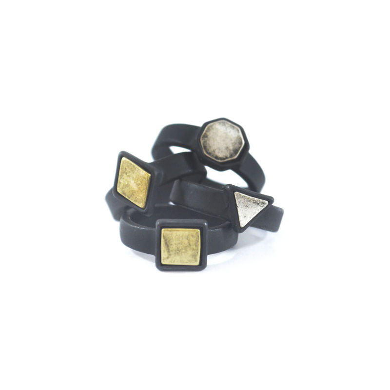 VINTAGE METALLIC POLYGON RING SET 111 - product image