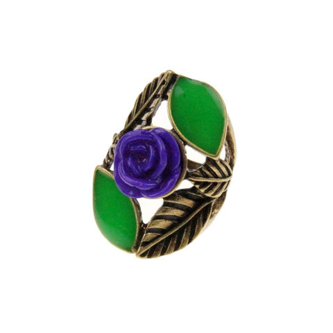 VINTAGE,LEAVES,AND,ROSE,RING,ROSE FLORAL RING, BLUE ROSE RING, VINTAGE ROSE RING, CHEAP RINGS
