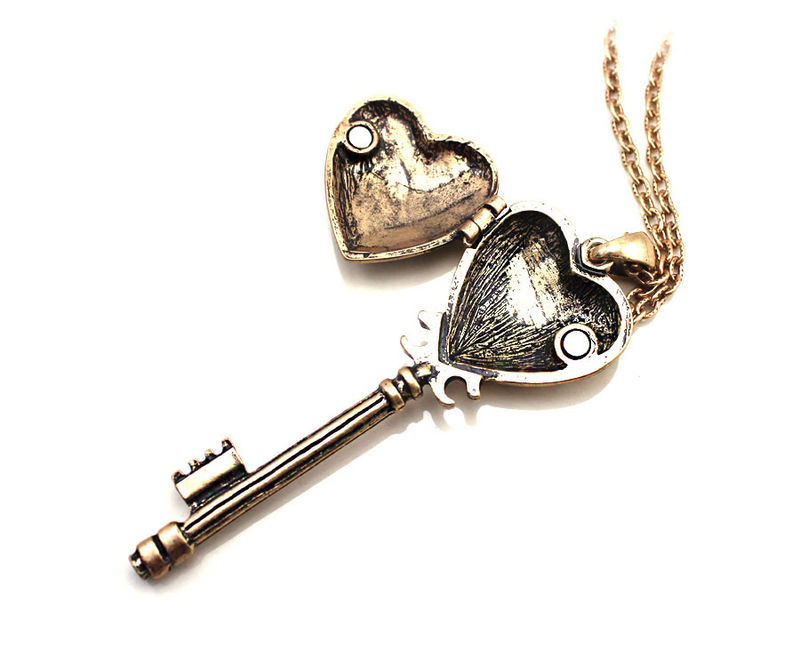 Vintage heart key necklace rings tings online fashion store vintage heart key necklace product image aloadofball Image collections