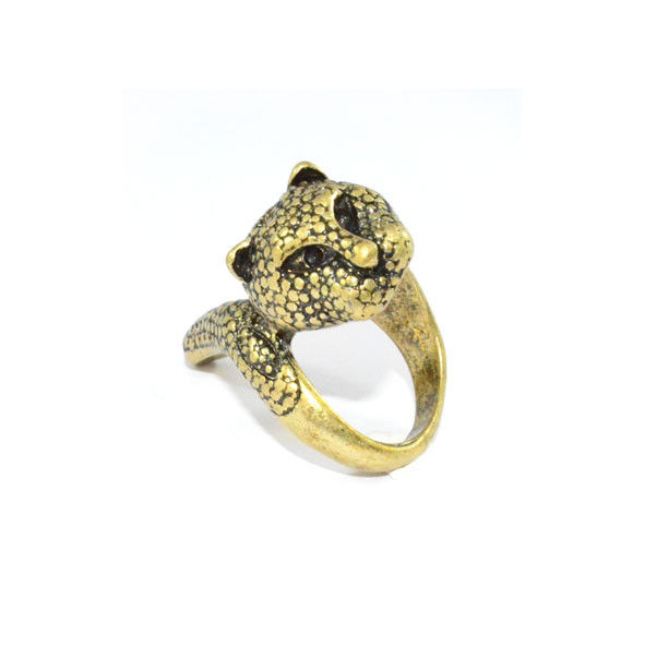 VINTAGE GOLD TWISTED LEOPARD RING - product image