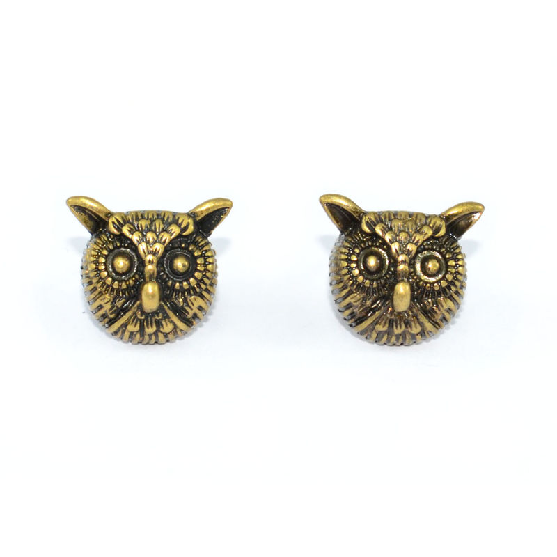 VINTAGE GOLD OWL HEAD EARRINGS - product image