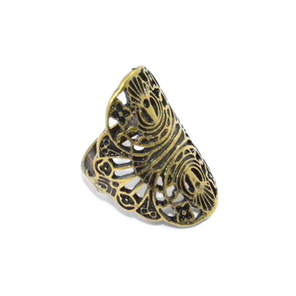 VINTAGE GOLD HOLLOW FLOWER PATTERN RING - product image