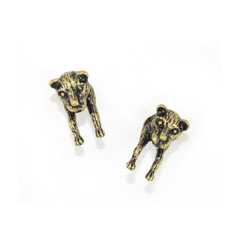 VINTAGE,GOLD,FOREQUARTER,LEOPARD,EARRINGS