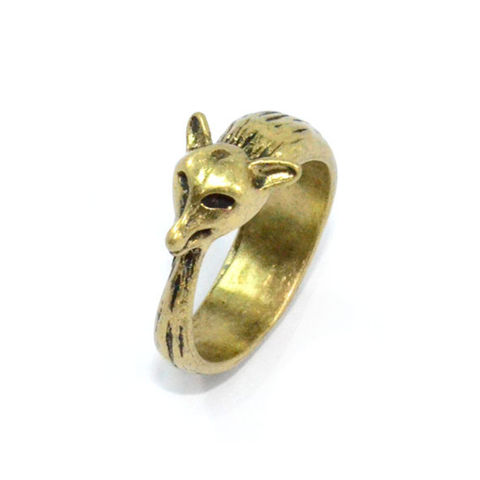 VINTAGE,GOLD,BENDED,FOX,RING,111,MINI FOX RING, FOX GOLD RING, BUY FOX RINGS, FOX FASHION RINGS