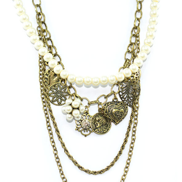 VINTAGE GOLD AND PEARL CHAIN MULTI PENDANTS NECKLACE - product image
