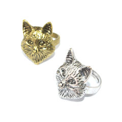 VINTAGE,FOX,HEAD,RING,FOX RING, FOX CHARM RING, WOLF FASHION RING