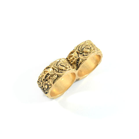 VINTAGE,FLOWER,PATTERN,DOUBLE,RING,GOLD VINTAGE RING, VINTAGE GOLD RING, VINTAGE FLORAL RINGS BUY