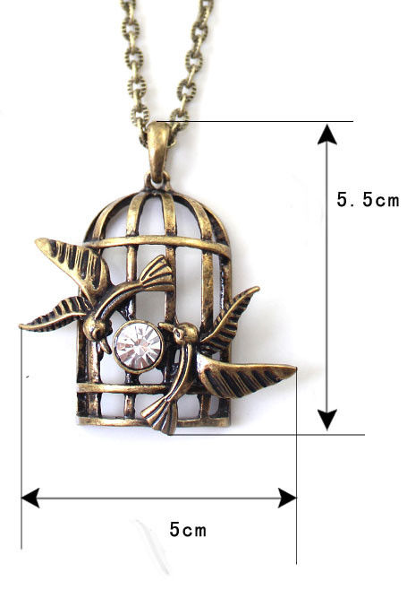 VINTAGE BIRDCAGE WITH CRYSTAL NECKLACE - product images  of