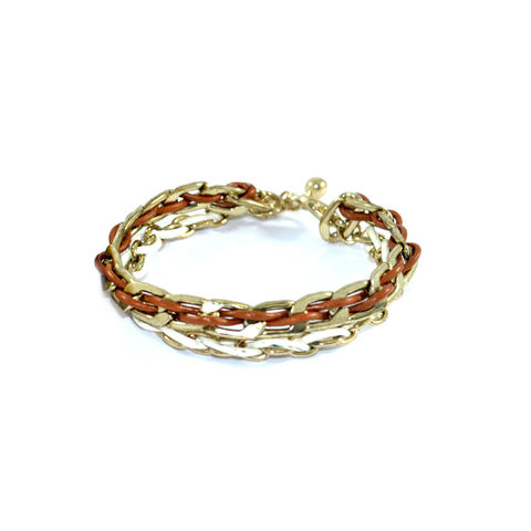 TWO,TONE,WOVEN,CHAIN,AND,STRING,BRACELET