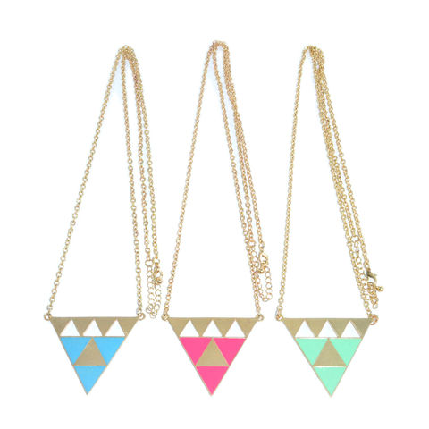 TWO,TONE,TRIANGLE,NECKLACE