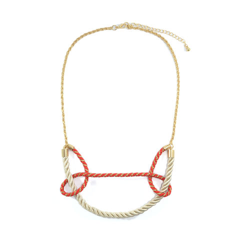 TWO,TONE,STRAP,AND,KNOTS,NECKLACE