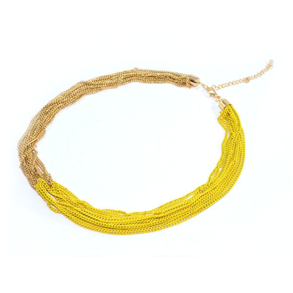 TWO TONE CHAINS JOINT NECKLACE - product image