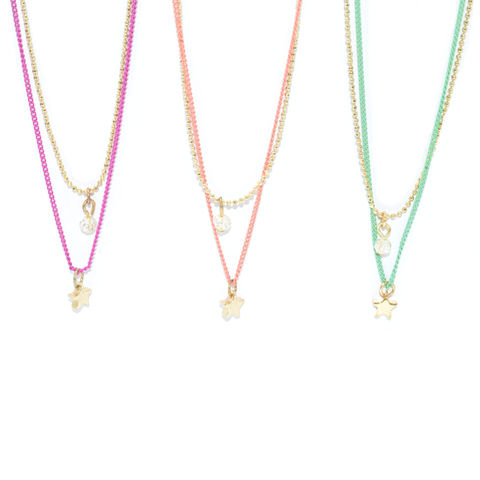 TWO,TONE,CHAIN,WITH,STAR,AND,BEAD,PENDANT,NECKLACE