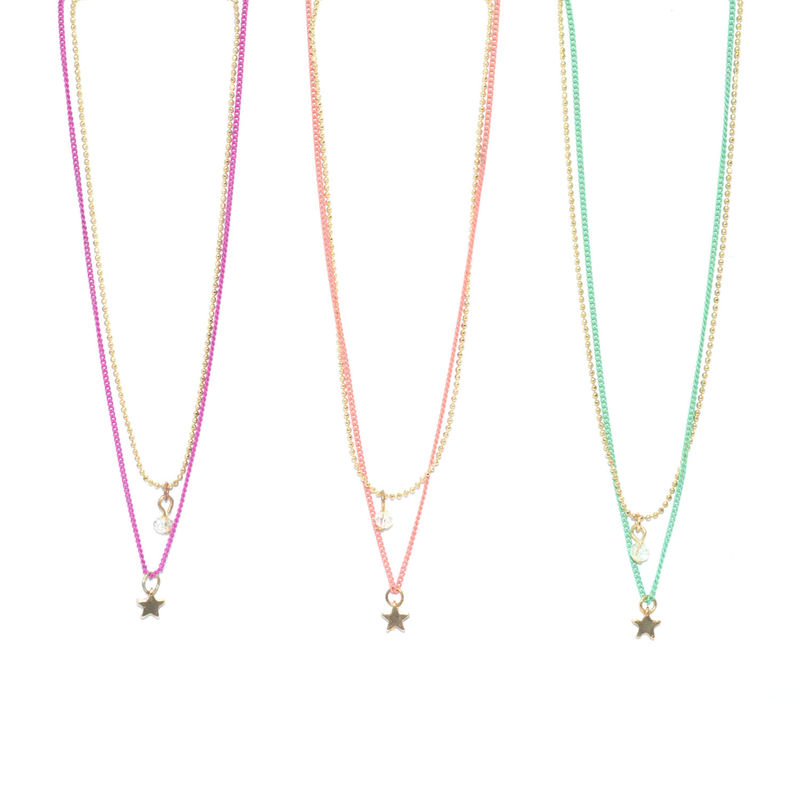 TWO TONE CHAIN WITH STAR AND BEAD PENDANT NECKLACE - product image
