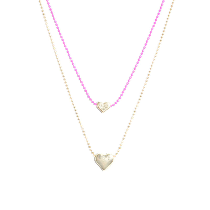 TWO TONE CHAIN WITH HEATS PENDANT NECKLACE - product image