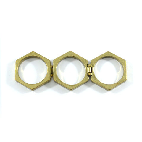 TRIPLE,MOVABLE,RING,PENTAGON RING, VINTAGE FASHION RING