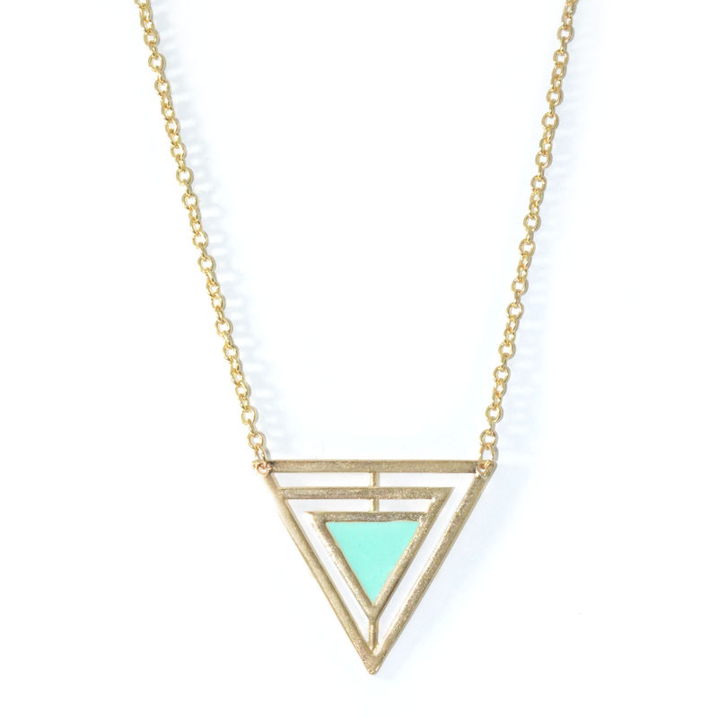 TRIANGLE NECKLACE WITH COLOUR TRIANGLE - product image