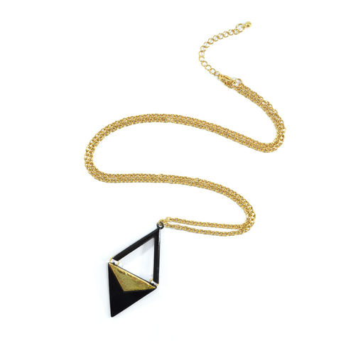 TWO,TONE,RHOMBUS,NECKLACE