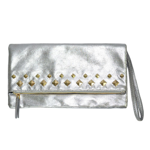 STUDDED,CRACK,TEXTURE,CLUTCH,BAG,STUD CLUTCH BAG, SILVER CLUTCH BAG, CRACK TEXTURE CLUTCH BAG, PYRAMID STUD CLUTCH BAG, SILVER CRACK SURFACE CLUTCH BAG, SILVER PYRAMID STUD CLUTCH BAG