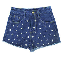 STAR,PATTERN,DENIM,SHORTS