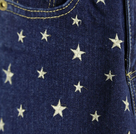 STAR PATTERN DENIM SHORTS - product image