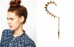 SPIKES EAR CUFF WITH CHAIN AND SINGLE SPIKE - product image