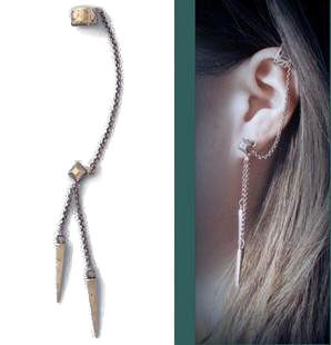 SPIKE CHAIN CUFF EARRING - product image