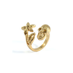 SKULL,WITH,FLOWER,RING,SKULL AND FLORAL RING, FLOWER AND SKULL RING