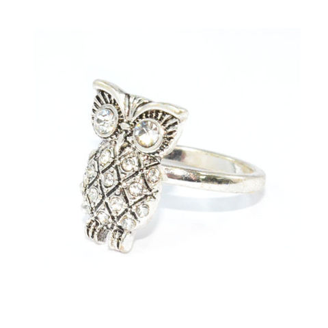 SILVER,TONE,CRYSTAL,OWL,RING,OWL RING, SILVER OWL RING, VINTAGE OWL RING
