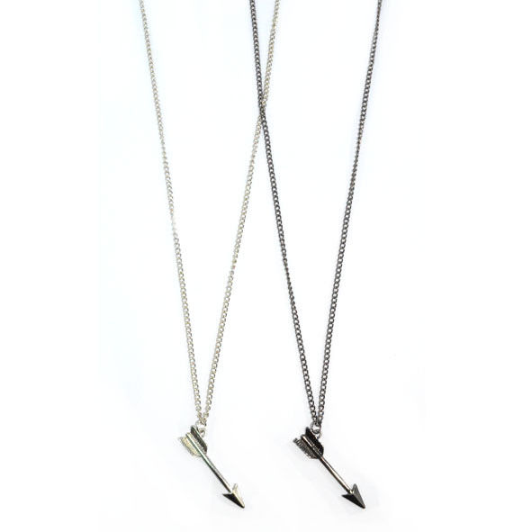 SILVER TONE ARROW LONG CHAIN NECKLACE - product image