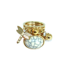STONE,AND,DRAGONFLY,RING,SET,MINI CHARM RINGS, DRAGONFLY RINGS, MINI GOLD CHARMS