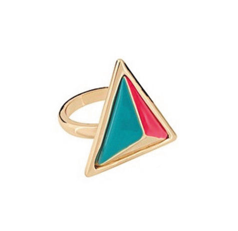THREE,DIMENSIONAL,TRIANGLE,RING,TRIANGULAR RING, GOLD TRIANGLE RING, PINK TRIANGLE RING, MULTI COLOR RING