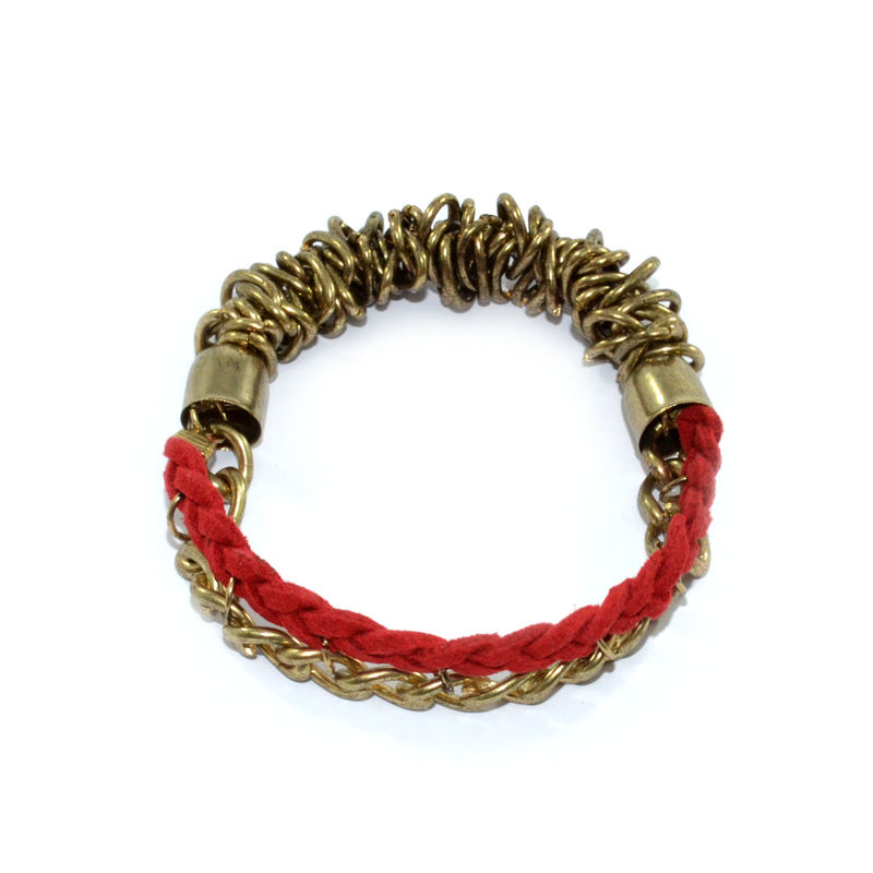 WOVEN STRING AND CHAIN ELASTIC BRACELET - product image