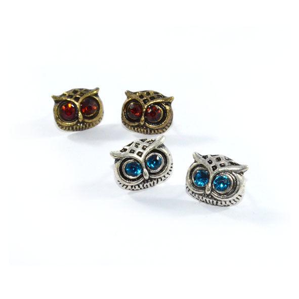 Vintage Crystal Eye Owl Earrings Product Image