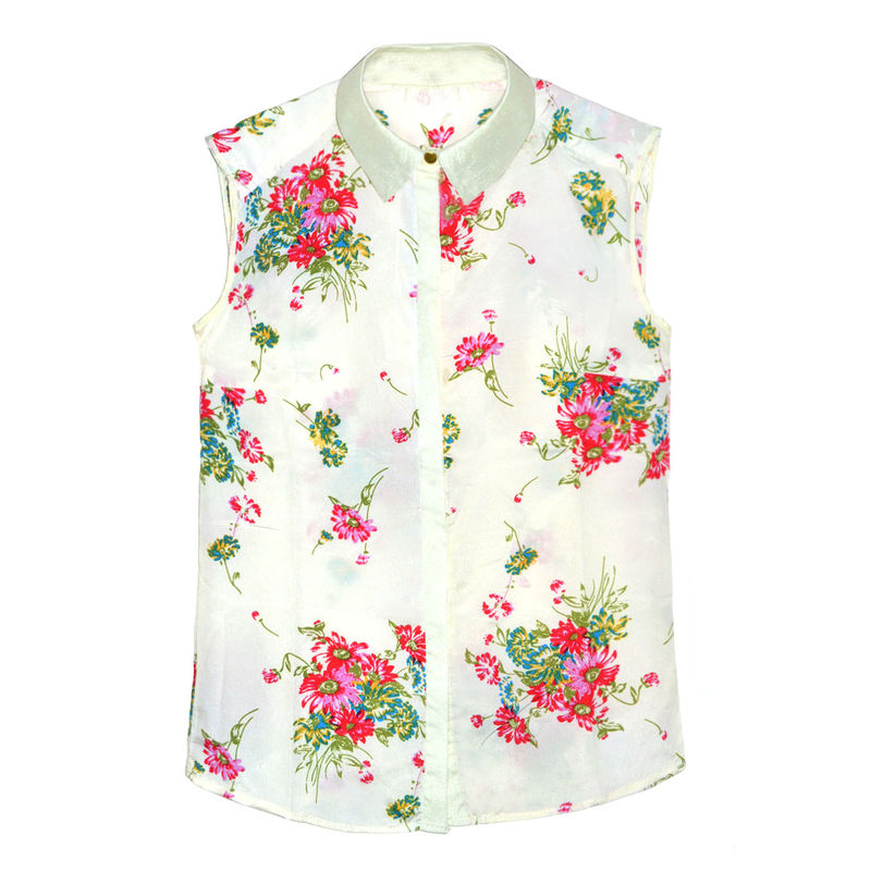 BERRY FLORAL SLEEVELESS BLOUSE - product image