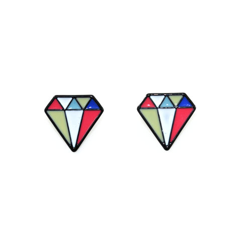 COLOURFUL,DIAMOND,EARRINGS,DIAMOND EARRINGS, DIAMOND SHAPE EARRINGS, COLORFUL DIAMOND EARRINGS, MULTI COLOR DIAMOND SHAPE EARRINGS