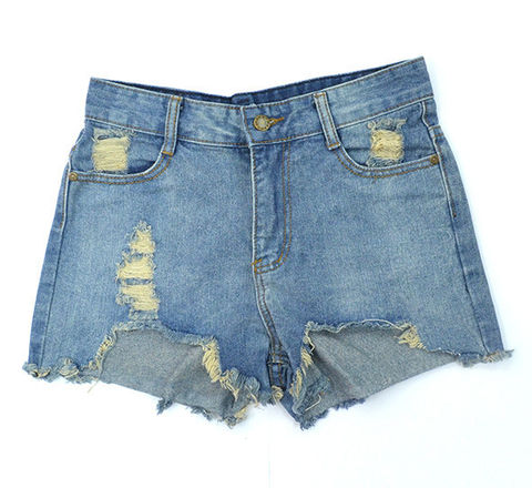 FRAYED,DENIM,SHORTS