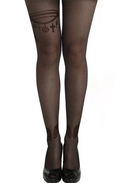 WINGS CHARM BRACELET GOTHIC TATTOO PATTERN TIGHTS - product image