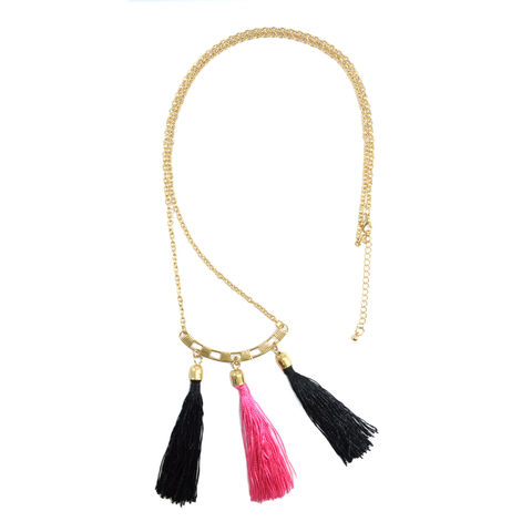 VINTAGE,STYLE,TRIPLE,TASSELS,NECKLACE,TASSEL NECKLACE, TRIPLE TASSEL NECKLACE, COLOR TASSEL NECKLACE, TRIPLE COLOR TASSEL NECKLACE