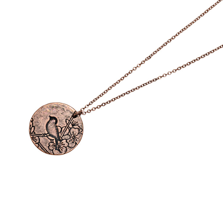 VINTAGE STYLE ENGRAVED BIRD NECKLACE - product image