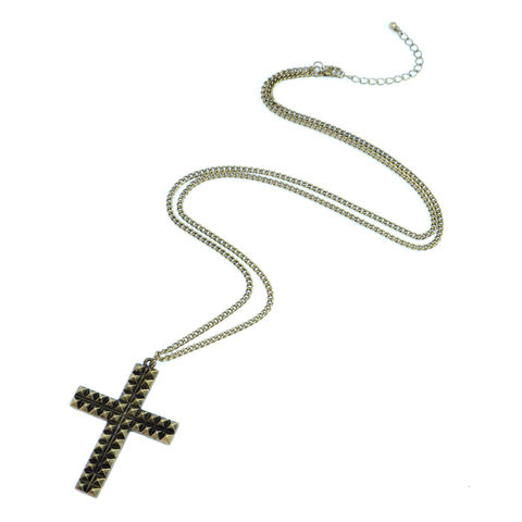 VINTAGE,STYLE,STUDDED,CROSS,NECKLACE,CROSS NECKLACE, VINTAGE CROSS NECKLACE, VINTAGE STYLE CROSS NECKLACE, STUDDED CROSS NECKLACE